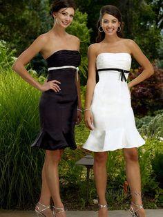 Sheath/Column Knee-length Strapless Elastic Woven Satin Bridesmaid Dress With Ruffles