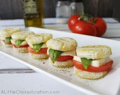 Italian Caprese Tea Sandwiches at ALittleClaireific... | Fun for the kids and easy to make.