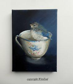 Bird Teacup painting original still life Bluebird baby by 4WitsEnd, via Etsy