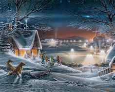 """terry redlin   Puzzles - Jigsaw Puzzle Terry Redlin 1000 Pieces 24""""X30"""" - Evening ..."""