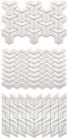 Product: The Versatile Collection - Axis tiles Designer: Yiğit Özer Tiles create unique senses of depth and interesting interaction with light. Individual pieces can be configured in a number of directions for custom configurations.