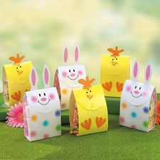 There easter treat boxes are from current, but I think you could make them pretty easily out of old shirt boxes left over from Christmas and a ziploc baggy