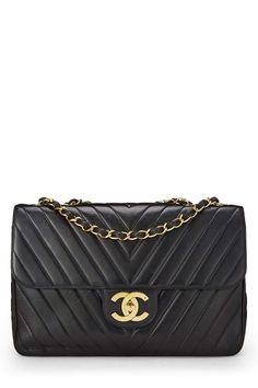 696cc0423d88 CHANEL Black Chevron Quilted Lambskin Flap Maxi (Pre-Owned)