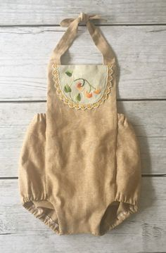 Handmade Linen Romper With Vintage Embroidery | TheRoadLessRaveled on Etsy
