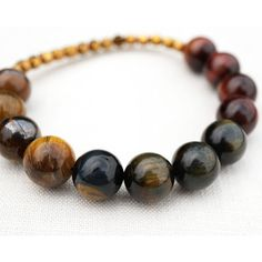 Ombre 3 Color Tiger Eye Bracelet, Yellow Blue Red, Large Natural Stone... ($43) ❤ liked on Polyvore featuring jewelry and bracelets