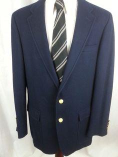 16fbf8baa JOHN WEITZ PALM BEACH Mens Blazer size 42 L Long Gold 2 Button Navy Blue #