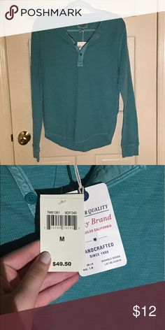 Teal Lucky Brand log sleeve tee Never worn, tags attached, 100% cotton Lucky Brand Tops Tees - Long Sleeve