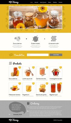 """Let the sunshine in"" with Honey, beautiful responsive Design to present a healthy bio product, Javascript animated, Item: 48175, $69 = http://templates-n-more.com"