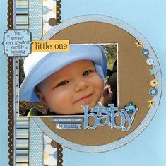 Scrapbook Layout - Baby boy page - Little one stripes. #diy #crafts #babyscrapbooks