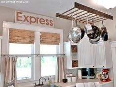 overhead pan holder?   This is a cool idea for Danis house....Love it