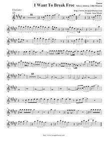 I Want To Break Free - Queen - Partitura Clarinete, Trompeta, Saxo Soprano y Saxo Barítono (sib) - Clarinet, trumpet , tenor saxophone and soprano sax Sheet music