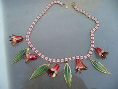 Coro Enamel Flower Necklace
