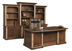 Love our new Amish handcrafted Jefferson Premier Executive Desk! Business Office Decor, Office Set, Office Ideas, Office Interior Design, Office Interiors, Woodworking Desk Plans, Sketchup Woodworking, Woodworking Basics, Woodworking Store