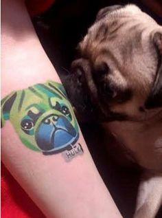 "A pug tattoo designed by St. Petersburg-based Instgrammer ""Sasha Unisex."""
