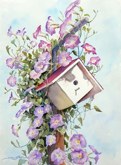 Morning Glory Birdhouse by Sue Lynn Cotton Watercolor Flowers Tutorial, Watercolor Images, Watercolour Tutorials, Watercolor Landscape, Watercolor And Ink, Watercolour Painting, Watercolours, Art Station, Alcohol Ink Art
