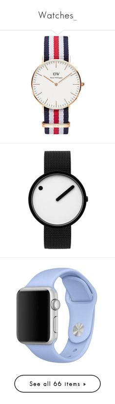 """""""Watches_"""" by aurellsianturi on Polyvore featuring jewelry, watches, rose gold, rose gold jewelry, rose gold jewellery, leather-strap watches, daniel wellington, rose gold wrist watch, dial watches and rosendahl watches"""