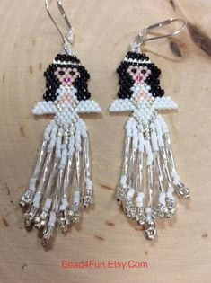 "Seed Bead Earrings, Name: ""White Angels"" Christmas Earrings Seed Bead Earrings, Beaded Earrings, Seed Beads, Crochet Earrings, Christmas Gifts For Women, Christmas Angels, Bead Embroidery Jewelry, Beaded Embroidery, Angel Earrings"