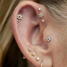 Love the tragus piercing and flower studs!!
