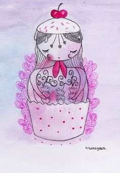 Russian Doll Cupcake Girl Illustration - Watercolour - A5 Print