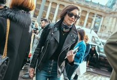 Leather Jacket, Colorful Scarf - Jane Bishop  | PFW SS 2016 | Street Style | Photo: Phil Oh | vogue.com