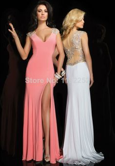 Custom Made Free Shipping Charming Sexy V-Neck Chiffon Prom Dresses 2014 Floor Length Mermaid Evening Gowns 2014 New Arrival $124.00