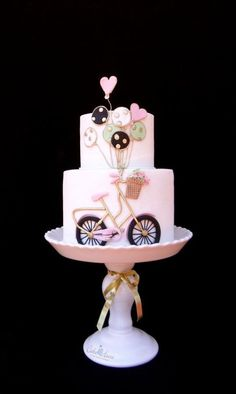 bicycle cake ♫ I want to ride my bicycle. Bicycle Cake, Bike Cakes, Pretty Cakes, Beautiful Cakes, Fondant Cakes, Cupcake Cakes, Bolo Paris, Cute Birthday Cakes, Girly Cakes