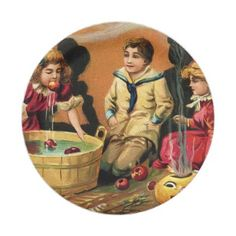 #Vintage Halloween Holiday kids party plate - #Halloween happy halloween #festival #party #holiday