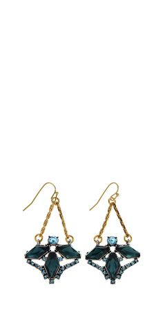 Whistles | Lulu Frost statement earring | Blue glass stone pendants, a brass chain and a 14k gold fill ear wire. Length 2 inches. | £65