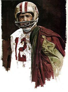 Portrait of John Brodie, SF 49ers by artist Merv Corning 1975 #Sports #Art http://www.asportinglife.com/