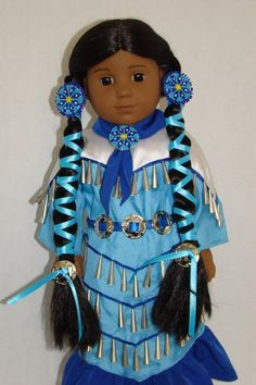 Ive always loved Kayas Jingle Dress, but felt the outfit was missing something. So after some trial and error, Ive come up with some Girl Doll Clothes, Doll Clothes Patterns, Doll Patterns, Girl Dolls, Beading Patterns, Native American Dolls, Native American Indians, American Girls, Kaya American Girl Doll