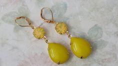 Chartreuse Rhinestone Earrings Crystal by ArtistInJewelry on Etsy