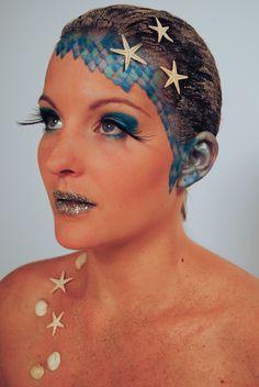 fantasy make-up / ocean (mua: Karolien Olaerts) Fantasy Make Up, Face Makeup, Stage, Challenge, Ocean, Costumes, How To Make, Make Up, Dress Up Clothes