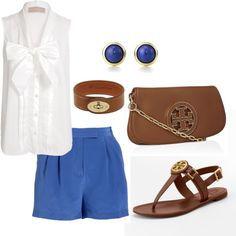 Crisp white, blue & cognac #toryburch