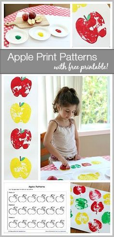 Fall Math for Kids: Make patterns using apple prints! (Younger children can make apple print collage art projects!) Includes free printable recording sheet! ~ BuggyandBuddy.com