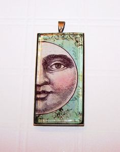 Man in the Moon Pendant, Antique Brass Pendant, Handmade By Florasfindings on Etsy