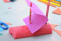 DIY Pool Noodle Boat for rain gutter races. Ingredients: Pool noodle cut into pieces, foam craft sheets cut into pieces, popsicle sticks and markers and stickers if you want to decorate the boats Boat Crafts, Vbs Crafts, Summer Crafts, Crafts For Kids, Cub Scouts Wolf, Tiger Scouts, Girl Scouts, Rain Gutter Regatta, Cub Scout Activities