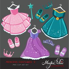 Instant Download Princess Costume clip art with cute matching dress up accessories.