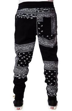 LATHC Pants Bandana Squares Sweatpants Joggers in Black $68: LATHC Pants Bandana Squares Sweatpants Joggers in Black $68