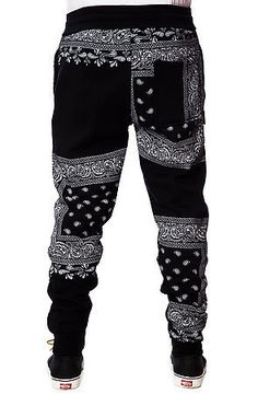 LATHC Pants Bandana Squares Sweatpants Joggers in Black $68