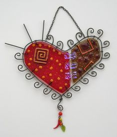 Glass and metal art heart