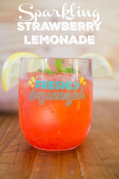 Sparkling strawberry lemonade is a refreshing summer drink made with fresh strawberries. This easy drink recipe is a little sweet and a little tart, with a lot of delicious fruit flavor! Party Food And Drinks, Fun Drinks, Yummy Drinks, Beverage Drink, Easy Drink Recipes, Drinks Alcohol Recipes, Simple Recipes, Wine Recipes, Sparkling Strawberry Lemonade