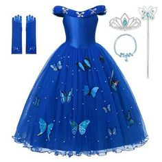 MUABABY Princess Cinderella Dress up Clothes Girl Off Shoulder Pageant Ball Gown Kids Deluxe Fluffy Bead Halloween Party Costume Pageant Dresses, Ball Dresses, Ball Gowns, Girls Dresses, Princess Dresses For Kids, Quince Dresses, 15 Dresses, Quinceanera Dresses, Princess Toys