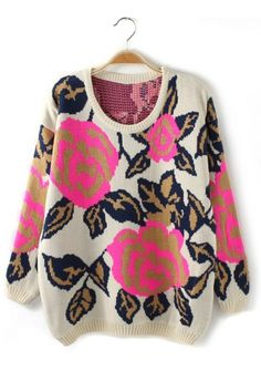 rose print sweater #fashion #outfit #style #look #trendy #trends #like #love #pretty #nice #beauty #beautiful #awesome #cool #amazing #wear #apparel #woman #women #ladies #girls #girl #girly #clothes #womenswear #jewelry #womensoutfit