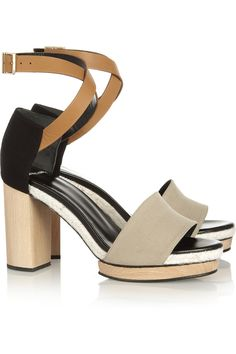 Pierre Hardy|Canvas and leather sandals|NET-A-PORTER.COM