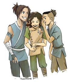 """Artist says, """"So I have this dream that Sokka has two sons and Lin is like bff's with them and they go and trick the other kids just like their parents did because everyone else is too much of a wimp to hang with Lin but these two are chill because it's freaking Sokka's CHILDREN."""""""