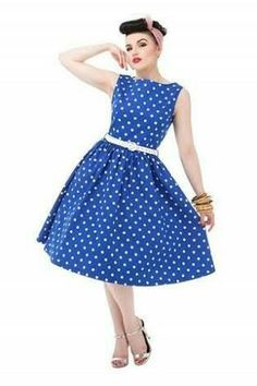 Audrey  go totally dotty with this vibrant blue polka dot vintage inspired  swing party dress from Lindy Bop. b061c2bd8a