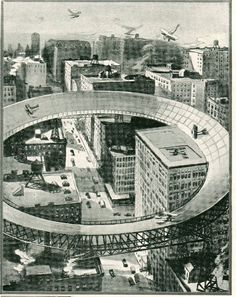 Elevated, Rooftop Inner-City Circular Airports, 1919 / JF Ptak Science Books Post 1102