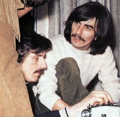 George with Derek Taylor and someone I can't see well enough to identify at the Apple Offices on Saville Row
