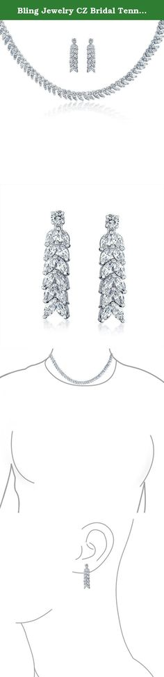 Bling Jewelry CZ Bridal Tennis Necklace Dangle Earrings Set Rhodium Plated. For a dazzling display on her wedding day and beyond, gift this stunning bridal CZ tennis necklace and dangle earrings set to the bride to be. The marquise CZs in this bridal jewelry set glisten and will frame her face in elegance for her all important walk down the aisle. The style is up to the minute and the rhodium plating keeps it shiny.