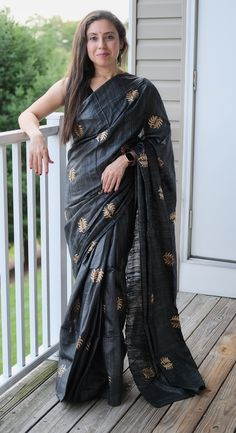 Gicha Tussar Embroidery Saree in Charcoal Black Embroidery Saree, Tussar Silk Saree, Charcoal Black, Mulberry Silk, Sari, Photoshoot, Collection, Color, Products